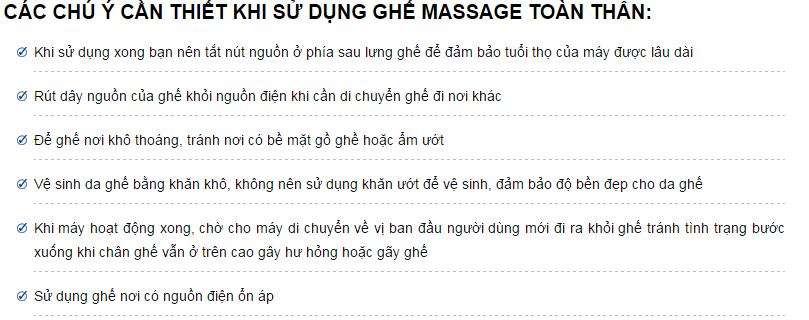 Các chú ý khi sử dụng ghế massage