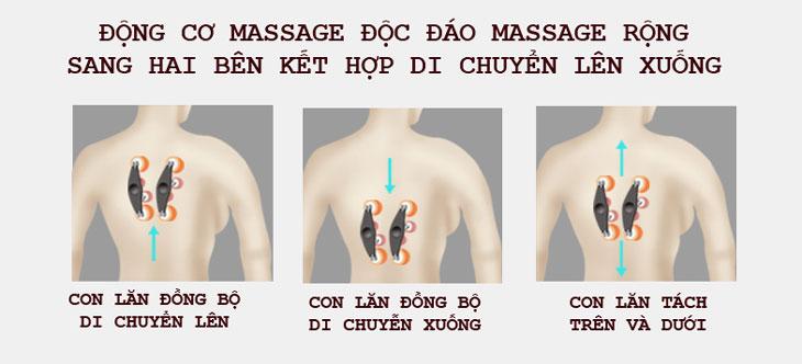 đệm massage toàn thân shika sk0518 con lăn hoạt động