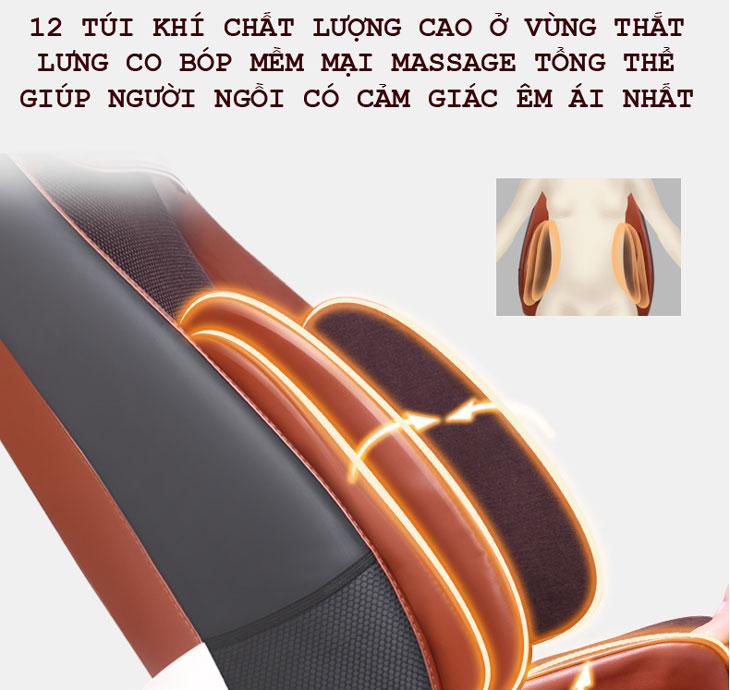 đệm massage toàn thân shika sk0518 túi khí eo