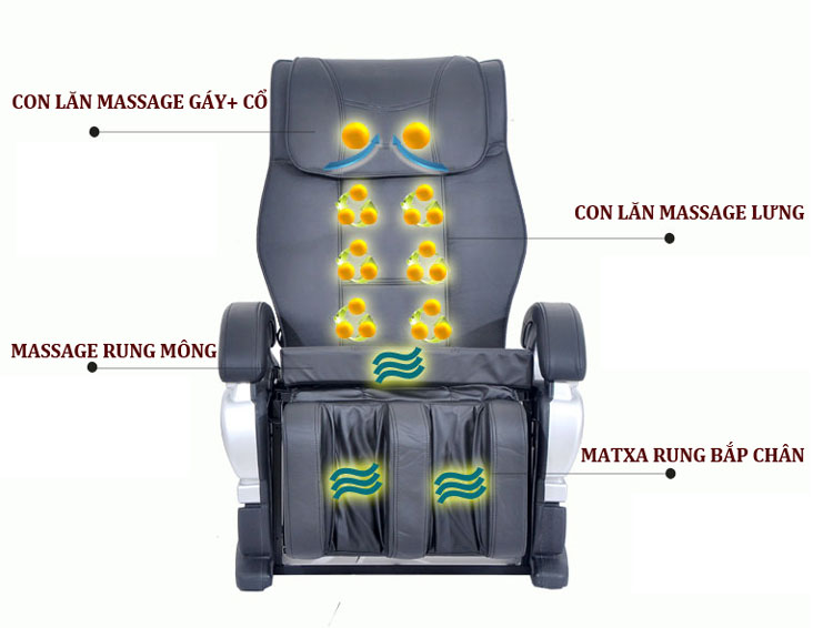 ghế matxa shika sk8900 con lăn lưng