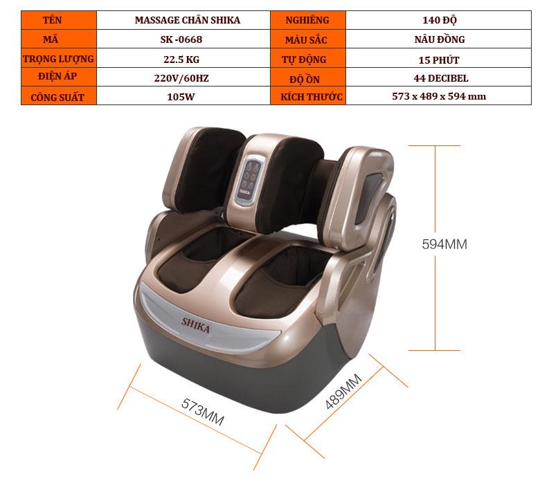 máy matxa chân shika sk0668 thông số kỹ thuật