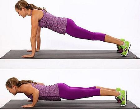 Plank chống tay hít đất giảm mỡ bụng cho nữ