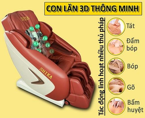 """Con lăn ghế massage gồm 3 phần chính là đầu bi lăn, """"tay"""" massage và trục"""